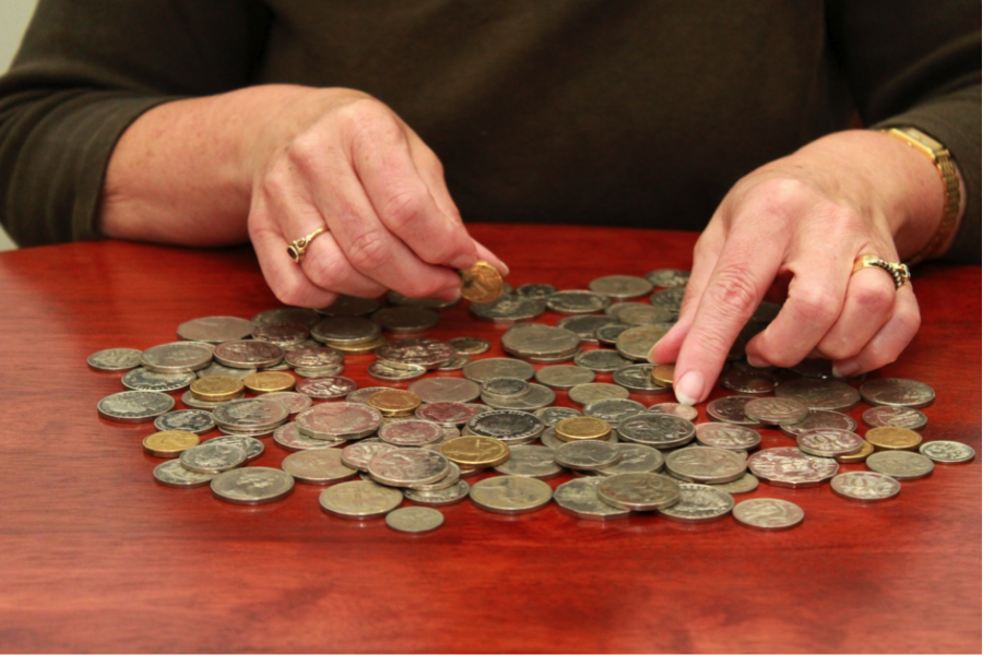 Gambler counting coins