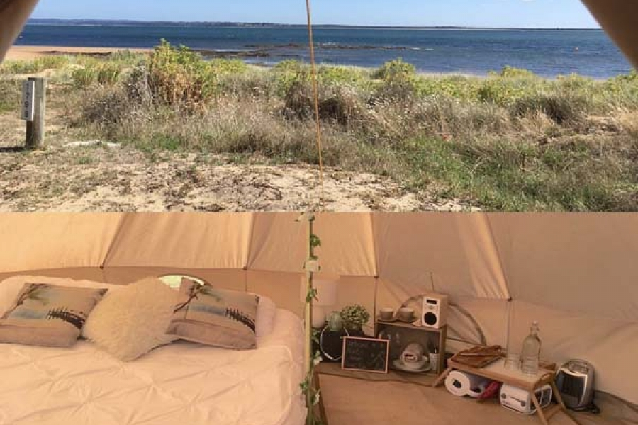 Image of glamping tent exterior and interior layout