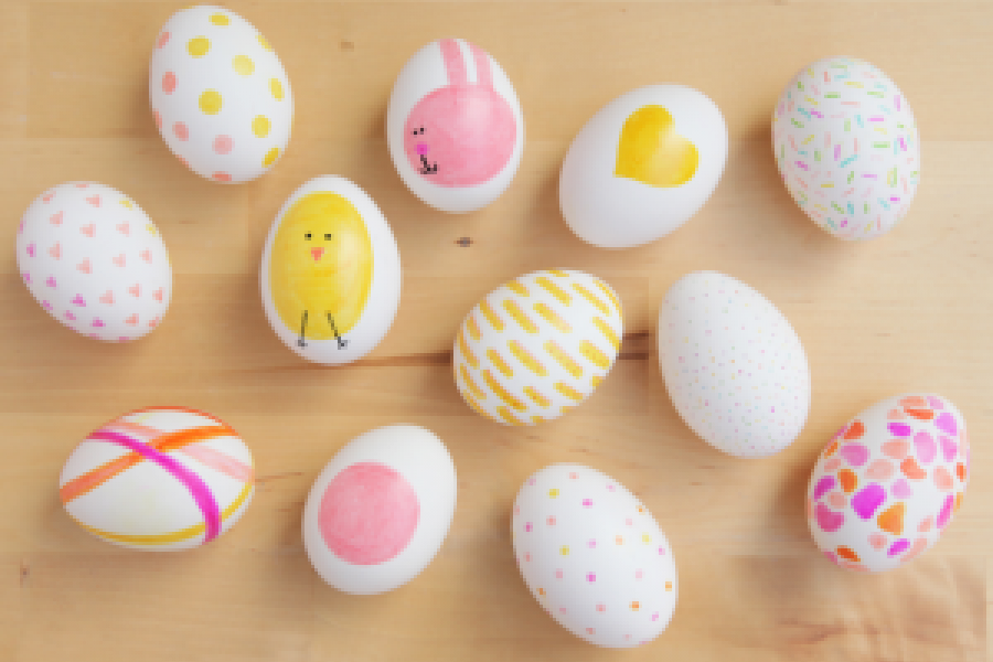 Eggs with marker drawings