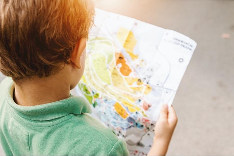 Boy staring at map
