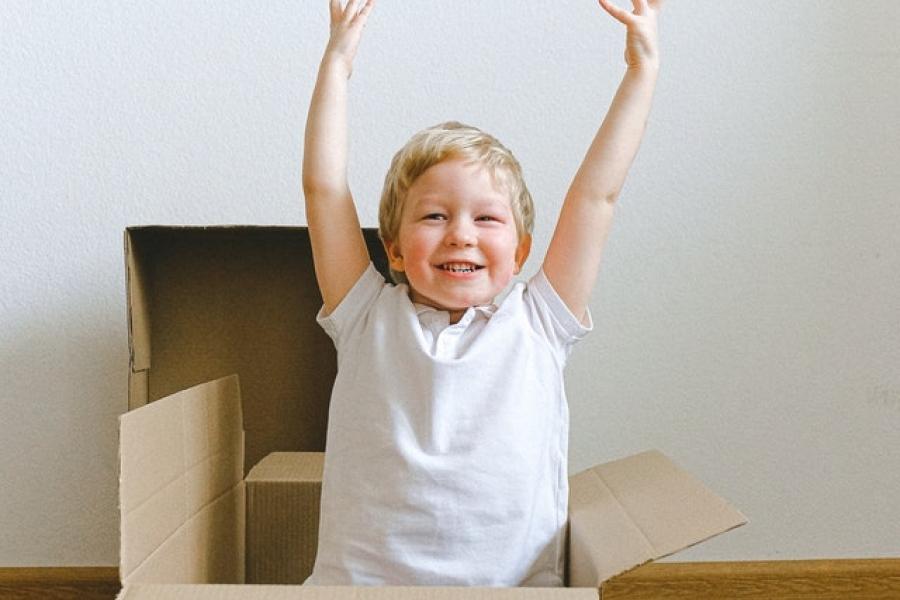 Boy raises hands happily in box