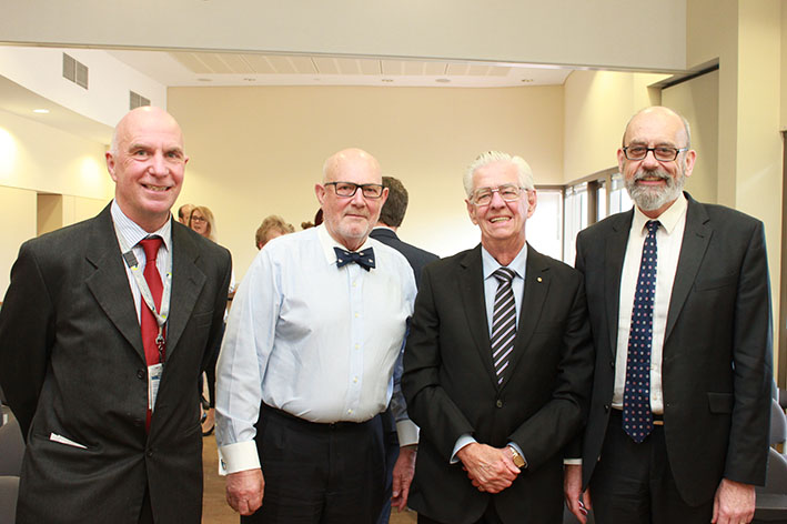 LCHS BOARD CHAIR MARK BIGGS, RETIRING BOARD DIRECTORS PETER WALLACE AND JOHN GUY, AND LCHS CEO BEN LEIGH.
