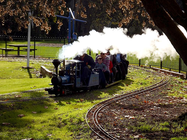Image of the miniture train rides at Newman Park