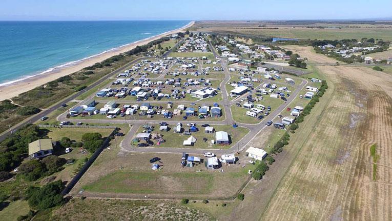 Image is an ariel view of the seaspray caravan park
