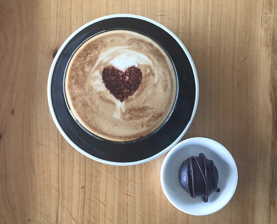 Image of organic hot chocolate and side snack