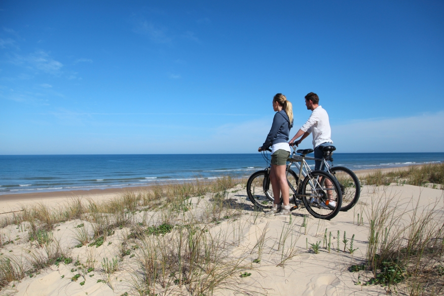 Biker couple staring at waves on the beach