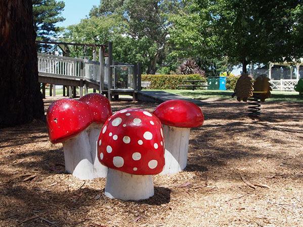 Image of mushroom playground elements at the Sale Botanic Gardens park