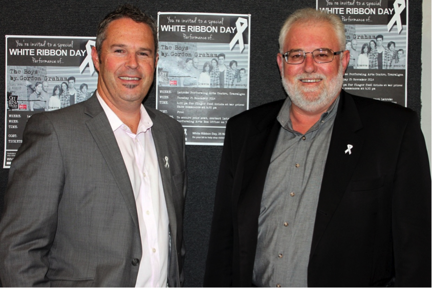Standing united: White Ribbon Day ambassadors David Elder and Alan Wilson want more families to talk about respectful relationships and gender equality to end violence against women
