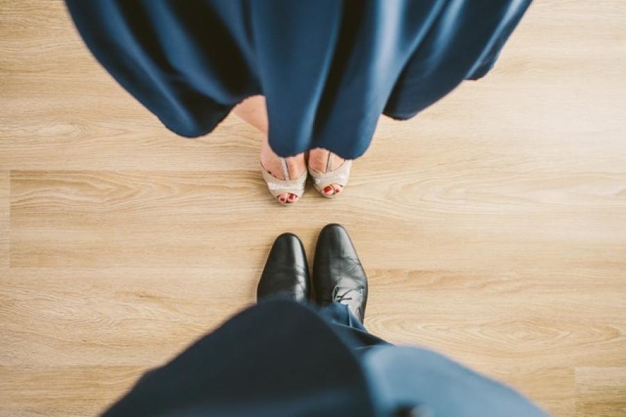 Shoe view of couple dancing