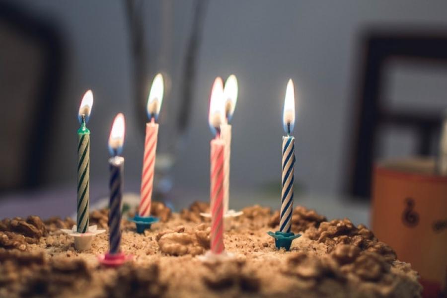 Birthday candles burning brightly