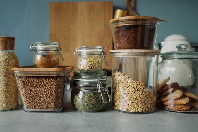 Clear Glass Jars storing dried food